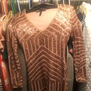 BCBGMaxAzaria Rose Gold Sequin Dress